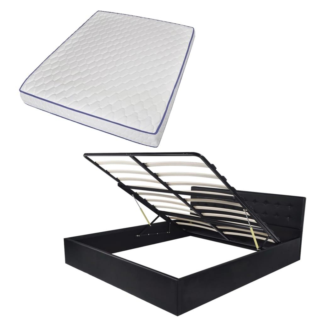 vidaXL Κρεβάτι με Μηχανισμό Μαύρο 160×200 εκ Δερματίνη + Στρώμα Μνήμης