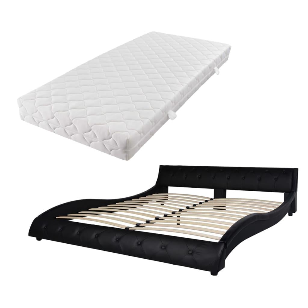 vidaXL Κρεβάτι Μαύρο 160 x 200 εκ. από Συνθετικό Δέρμα με Στρώμα