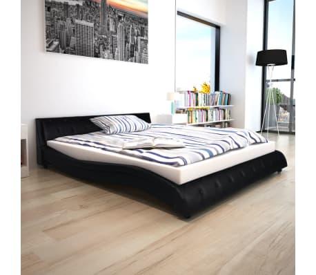 vidaxl bett mit matratze kunstleder 160x200 cm schwarz. Black Bedroom Furniture Sets. Home Design Ideas