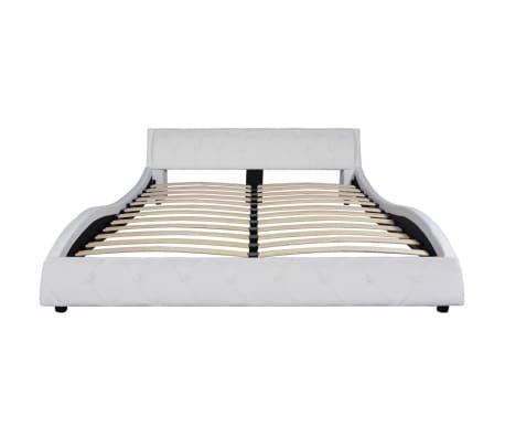 acheter vidaxl lit avec matelas 160x200 cm cuir artificiel blanc pas cher. Black Bedroom Furniture Sets. Home Design Ideas