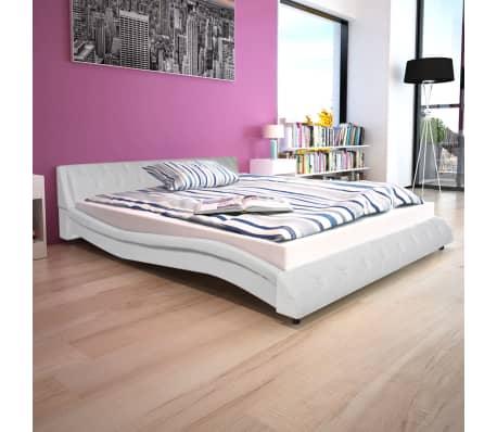 vidaxl bett mit matratze kunstleder 160x200 cm wei. Black Bedroom Furniture Sets. Home Design Ideas