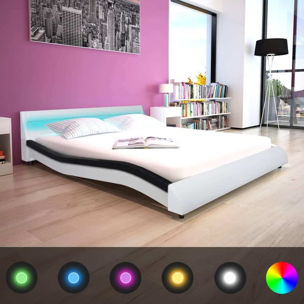 vidaXL Κρεβάτι LED Ασπρόμαυρο 160 x 200 εκ. Συνθετικό Δέρμα με Στρώμα