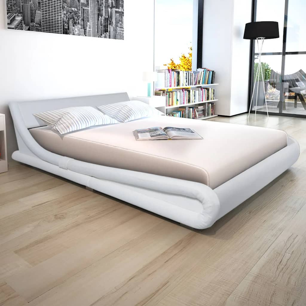 vidaXL Postel a matrací, umělá kůže 160x200 cm bílá