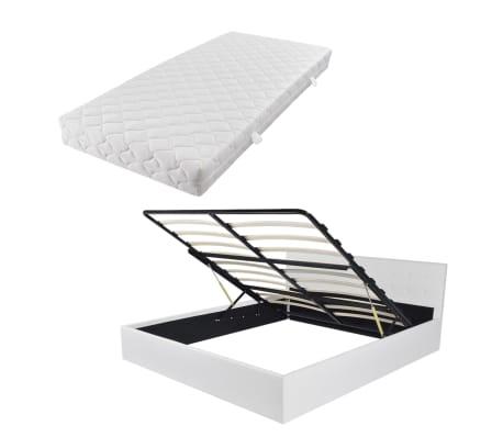 vidaxl kunstlederbett polsterbett doppelbett gasdruckfeder matratze 160x200 cm ebay. Black Bedroom Furniture Sets. Home Design Ideas
