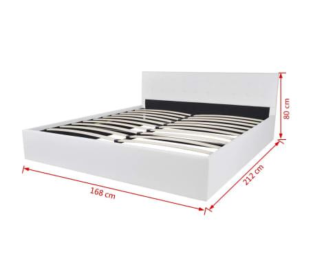 vidaxl bett mit gasfeder und matratze kunstleder 160x200 cm wei g nstig kaufen. Black Bedroom Furniture Sets. Home Design Ideas