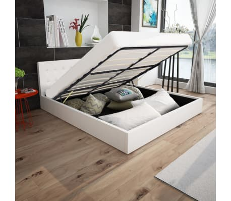 Vidaxl letto contenitore materasso pelle sintetica bianca - Materasso letto contenitore ...