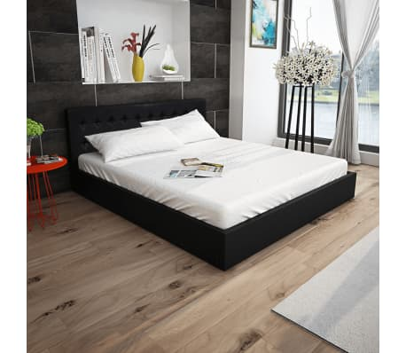 vidaxl bett mit gasfeder und matratze kunstleder 160x200 cm schwarz g nstig kaufen. Black Bedroom Furniture Sets. Home Design Ideas