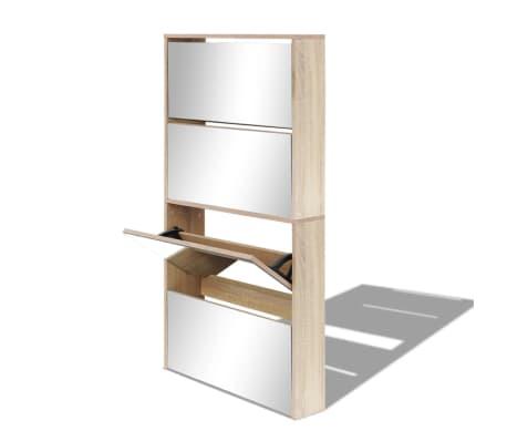 Schuhschrank Diele Schuhregal Schuhkipper Schuhkommode 4-Fach Spiegel Eiche//Weiß