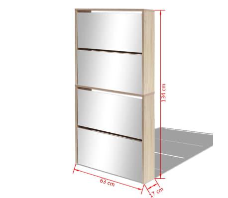 vidaXL Batų dėžė, 4 lygių su veidrodžiais, ąžuolas, 63x17x134cm[5/5]