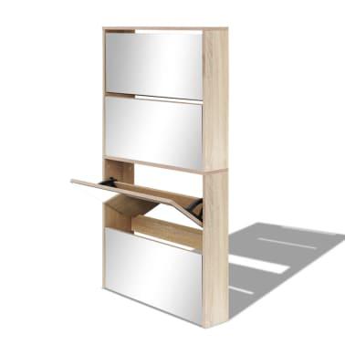vidaXL Batų dėžė, 4 lygių su veidrodžiais, ąžuolas, 63x17x134cm[3/5]