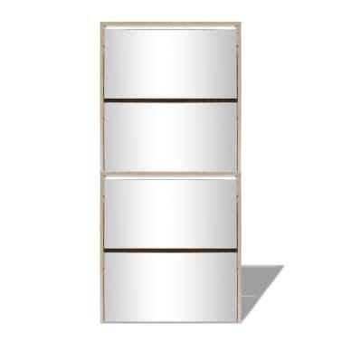 vidaXL Batų dėžė, 4 lygių su veidrodžiais, ąžuolas, 63x17x134cm[4/5]