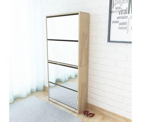 vidaXL Batų dėžė, 4 lygių su veidrodžiais, ąžuolas, 63x17x134cm[1/5]