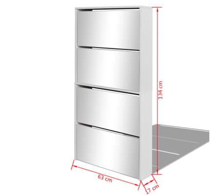 Vidaxl mueble zapatero 4 cajones con espejo blanco for Mueble zapatero con espejo