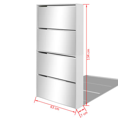 vidaXL Kenkäkaappi peileillä 4 kerrosta Valkoinen 63x17x134 cm[5/5]