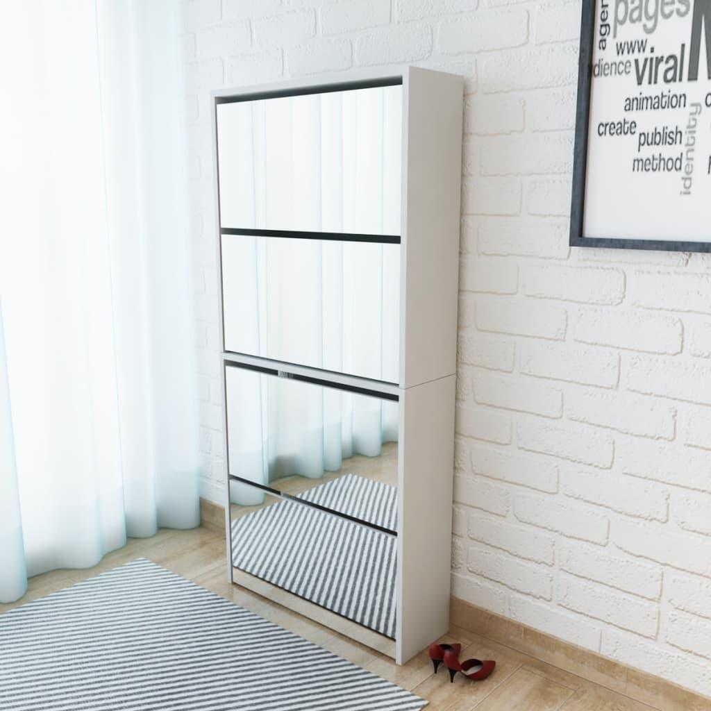 vidaXL Pantofar cu 4 niveluri și oglindă, alb, 63 x 17 x 134 cm poza 2021 vidaXL
