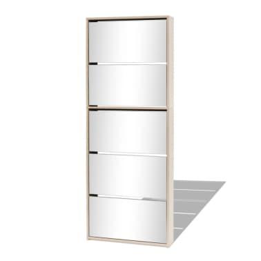 vidaXL Schuhschrank mit 5 Fächern Spiegel Eiche 63×17×169,5 cm[2/5]