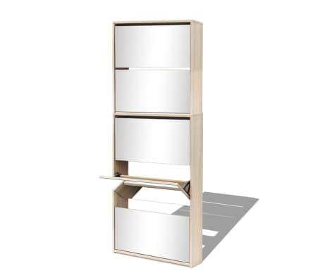 vidaXL Schuhschrank mit 5 Fächern Spiegel Eiche 63×17×169,5 cm[3/5]