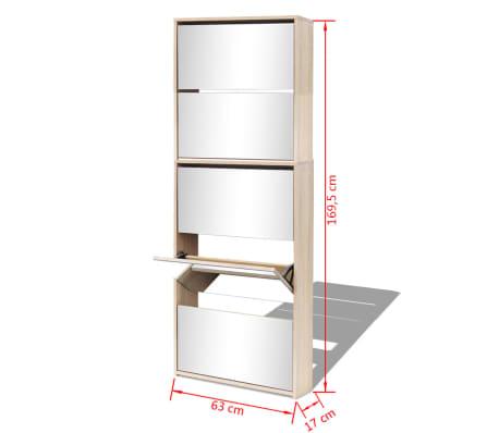 vidaXL Schuhschrank mit 5 Fächern Spiegel Eiche 63×17×169,5 cm[5/5]