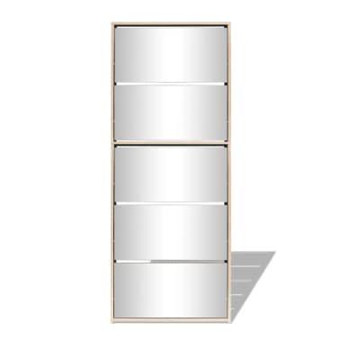 vidaXL Schuhschrank mit 5 Fächern Spiegel Eiche 63×17×169,5 cm[4/5]
