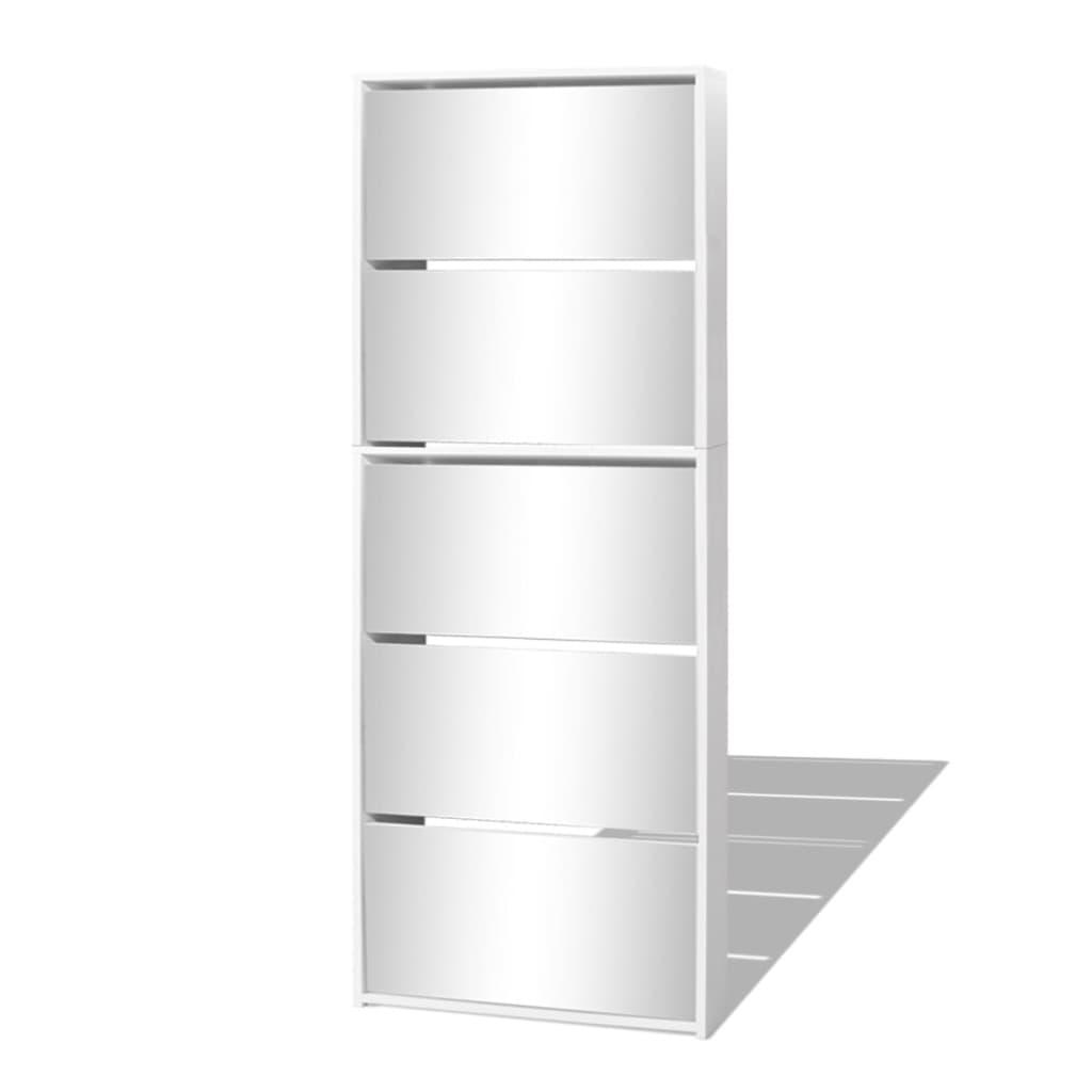vidaXL Παπουτσοθήκη Καθρέφτης 5 Επιπέδων Λευκή 63 x 17 x 169,5 εκ.