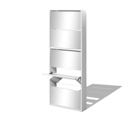 vidaXL Szafka na buty z 5 półkami, lustrzana, biała, 63x17x169,5 cm[3/5]