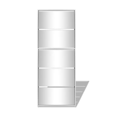 vidaXL Szafka na buty z 5 półkami, lustrzana, biała, 63x17x169,5 cm[4/5]