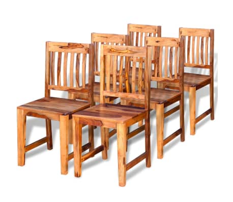vidaXL Dining Chairs 6 pcs Solid Sheesham Wood