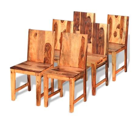 vidaXL Valgomojo kėdės, 6 vnt., masyvi rausvosios dalbergijos mediena