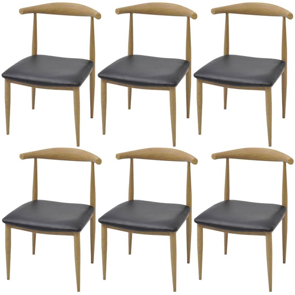 vidaXL Jídelní židle 6 ks černé