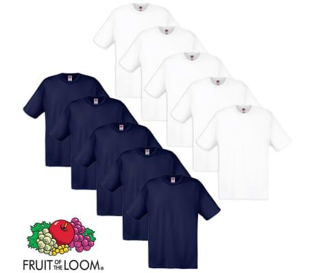 Fruit of the Loom Camiseta original 100% algodón blanco  azul marino ... 15a65503e4171