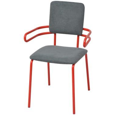Vidaxl silla sill n de comedor 6 unidades rojo y gris for Silla sillon comedor
