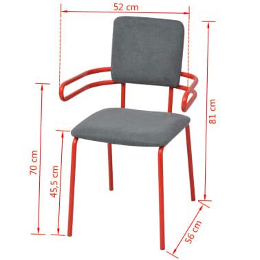 vidaXL Esszimmerstühle 6 Stk. Rot und Grau Stoff |