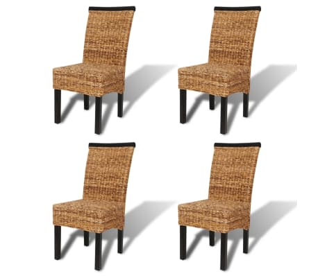 vidaXL Dining Chairs 4 pcs Abaca Brown[2/10]
