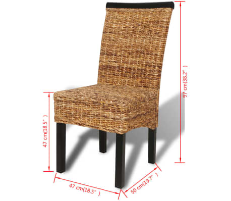vidaXL Dining Chairs 4 pcs Abaca Brown[10/10]