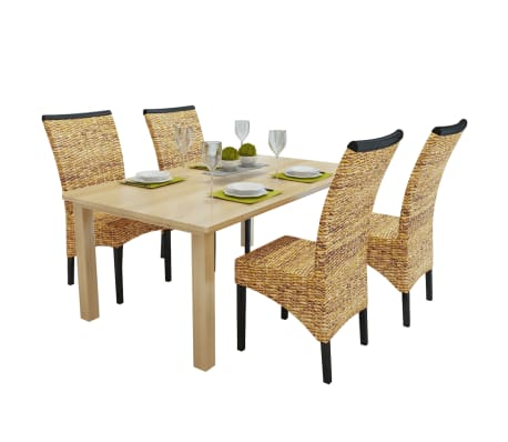 vidaXL Dining Chairs 4 pcs Abaca Brown[1/10]