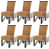 vidaXL Valgomojo kėdės, 6 vnt., abaka, rudos