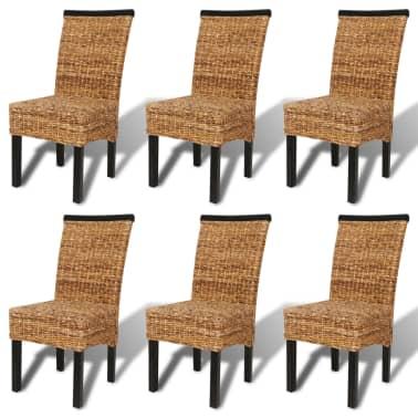 vidaXL Sillas de comedor 6 unidades madera maciza de mango y abacá[2/10]