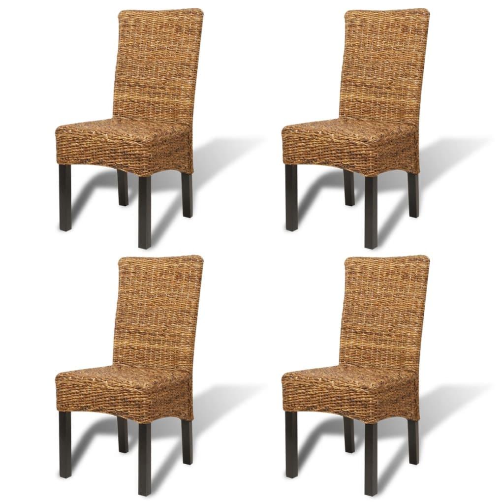 vidaXL Καρέκλες Τραπεζαρίας 4 τεμ. από Άμπακα / Μασίφ Ξύλο Μάνγκο