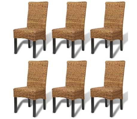 vidaXL Dining Chairs 6 pcs Abaca Brown[2/10]