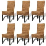 vidaXL Dining Chairs 6 pcs Abaca and Solid Mango Wood