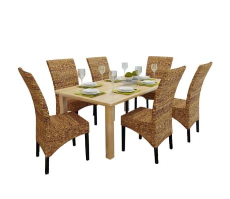vidaXL Dining Chairs 6 pcs Abaca Brown[1/10]
