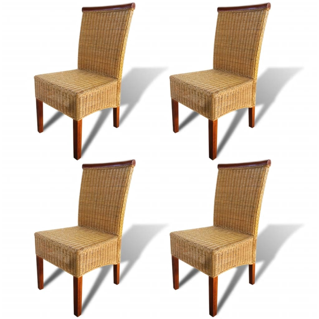 vidaXL Καρέκλες Τραπεζαρίας 4 τεμ. Καφέ από Γνήσιο Ρατάν