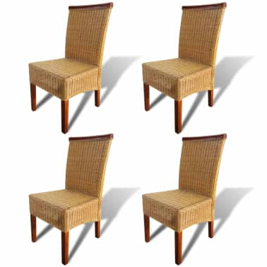 vidaXL Dining Chairs 4 pcs Rattan Brown[2/7]