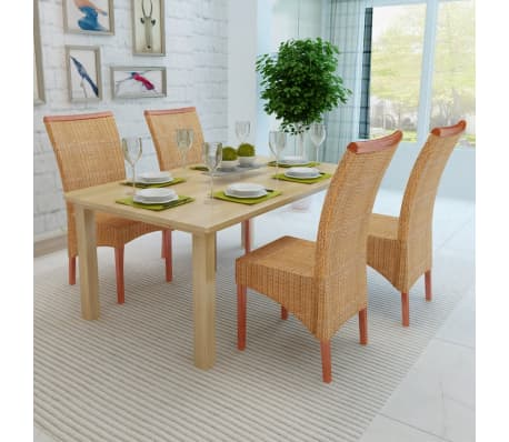 vidaXL Dining Chairs 4 pcs Rattan Brown[3/7]