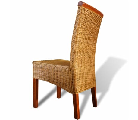 vidaXL Dining Chairs 4 pcs Rattan Brown[4/7]