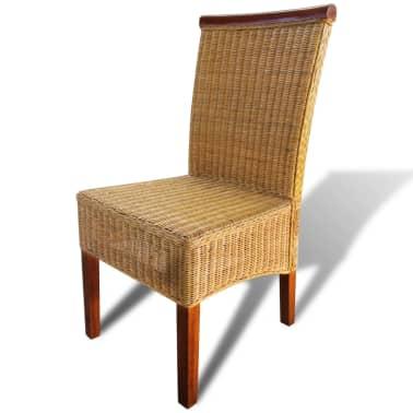 vidaXL Dining Chairs 4 pcs Rattan Brown[5/7]