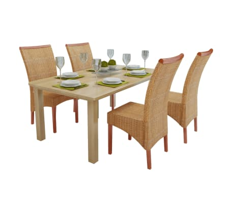 vidaXL Dining Chairs 4 pcs Rattan Brown[1/7]