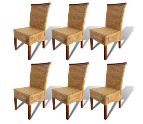 vidaXL Dining Chairs 6 pcs Rattan Brown[2/7]