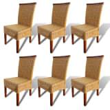 vidaXL Valgomojo kėdės, 6 vnt., ratanas, rudos