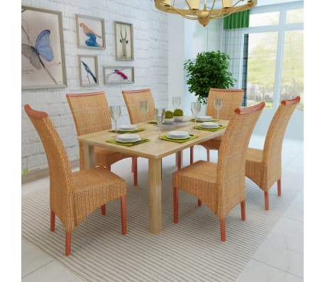 vidaXL Dining Chairs 6 pcs Rattan Brown[3/7]